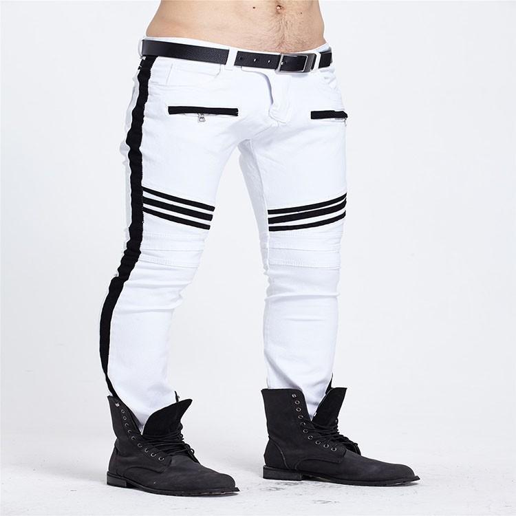Скидки на 2016 байкер мужчины белые брюки мотоцикла Моды раза упругие ноги джинсы человек Молнии карманы для мужские джинсы