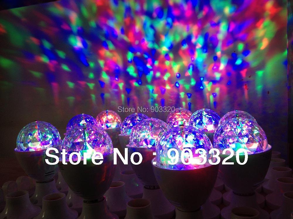Freeshipping Hot Sell E27 3W Auto Rotating RGB LED Rotating Light For Disco,Nightclub,KTV,Dance Hall,Bar,Karaoke(China (Mainland))