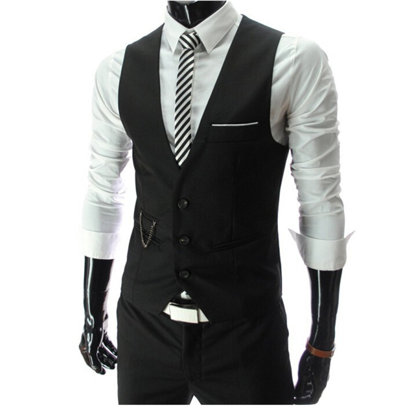 2016 New Arrival Dress Vests For Men Slim Fit Mens Suit Vest Male Waistcoat Gilet Homme Casual Sleeveless Formal Business Jacket(China (Mainland))