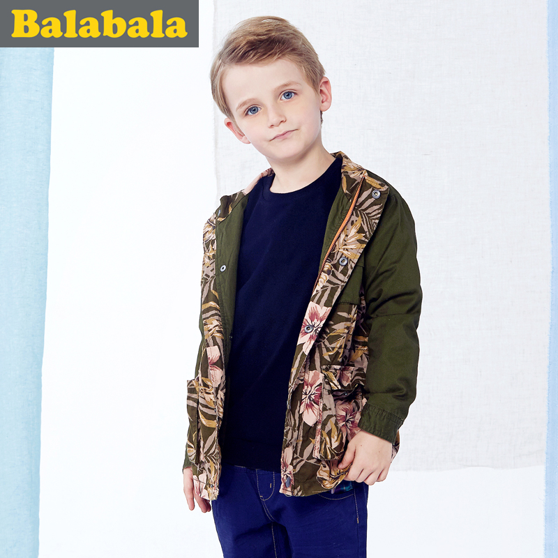 Balabala Childrens Boys spring coat jacket cotton printing 2015 children fall fashion tide on sale(China (Mainland))