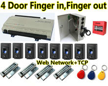 4 Door Finger in and 4 door Finger out Access Controller Panel Board Box +Web Network+TCP/IP+ 4 pcs Fingerprint/ID Card Reader