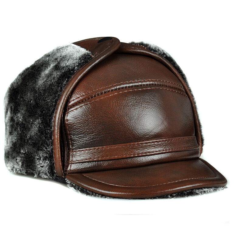 The elderly Lei Feng hat men's winter outdoor thick warm ear Leather Hat Cap old cow(China (Mainland))