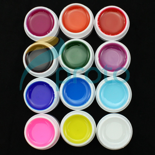 SG Post Freeshipping-12 Colors Glaze Transparant UV Gel for UV Nail Art Tips Extension Decoration UV Builder Gel Set SKU:C0046