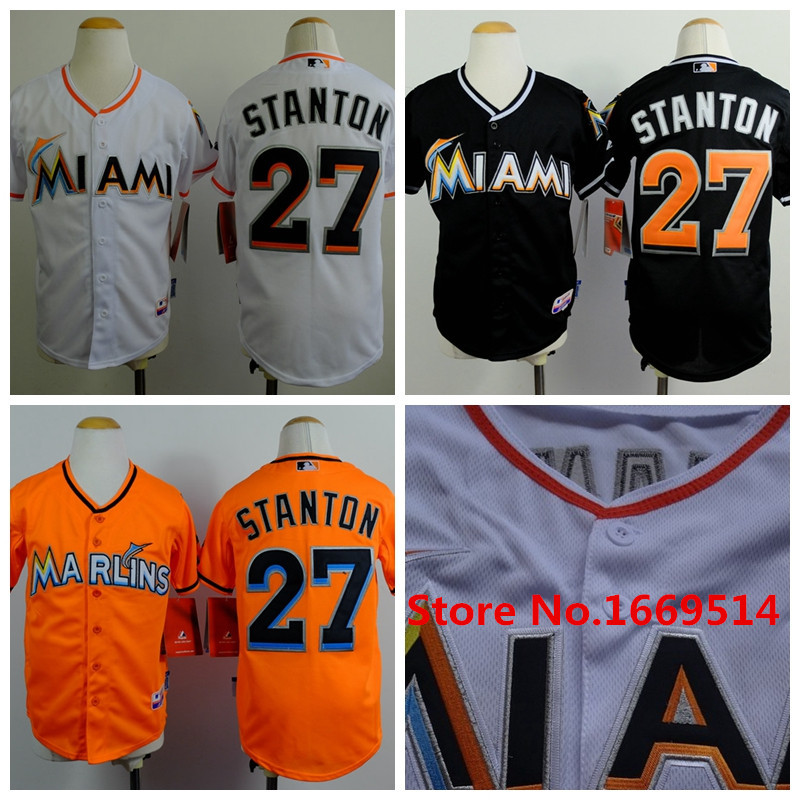 Free Shipping 2015 Miami Marlins Baseball Jersey #27 Giancarlo Stanton White Black orange Youth/Kid's baseball Jerseys/shirt(China (Mainland))