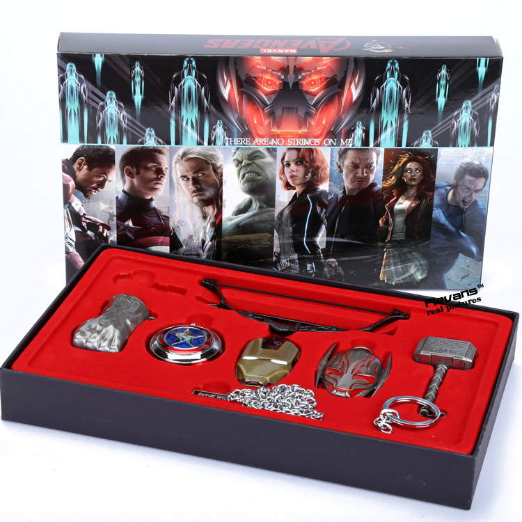 Marvel Avengers Age of Ultron Cosplay Weapons 6pcs/set Thor Hammer Necklace Metal Pendant Necklace ANPD2075<br><br>Aliexpress