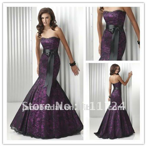 Plum Satin With Black Lace And Black Belt Wedding Dress In Wedding Dresses From Weddings