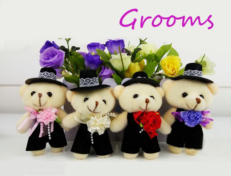 5 couple Cute Teddy Bear for little kids gift 13cm bride &groom bear plush toy cartoon bouquet teddy bear couple wedding decor(China (Mainland))