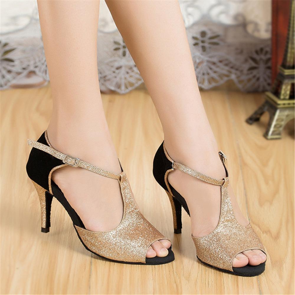 Cheap Gold Glitter Heels