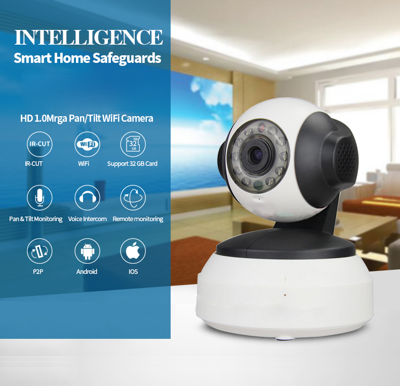 New Ip camera wifi mini cctv security camara HD micro 360 night vision action webcam onvif p2p ptz adh IR CUTcam 720p H.264(China (Mainland))