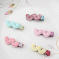 Cute Style Girls Hair Accessories Shiny Sequin Double Star Heart Hairpins Baby Headdress Love Heart Hair