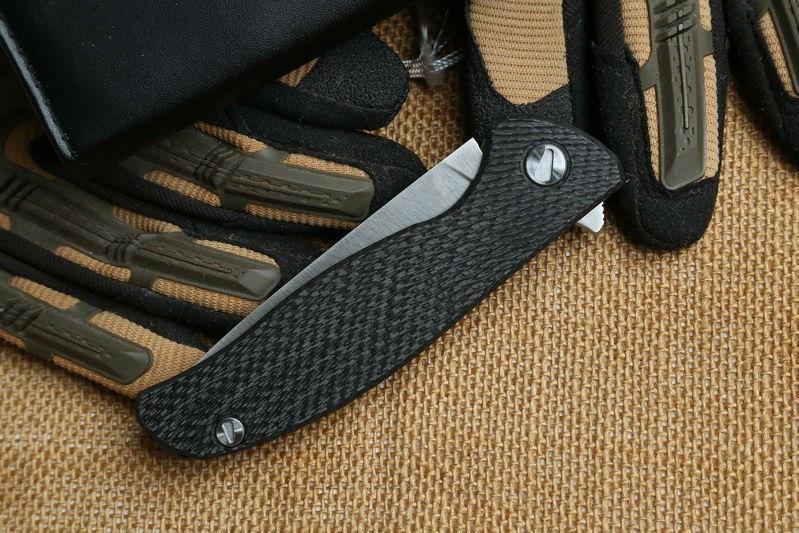 Buy Yidu Dicoria 95 hati D2 blade Titanium + carbon fiber Handle folding Hunt pocket outdoor camping straight knife knives EDC tool cheap