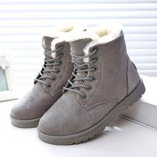 QUANZIXUAN Winter Stiefel Neue Ankunft Warme Schnee Stiefel Mode Frauen Stiefeletten Plüsch Einlegesohle Frauen Stiefel Wildleder Spitze Up Frauen schuhe(China)