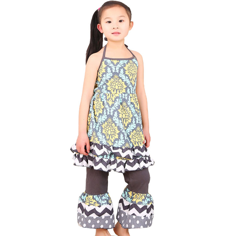 Latest No MOQsummer colorful without back girls boutique outfits set matching ruffle knit pants ...