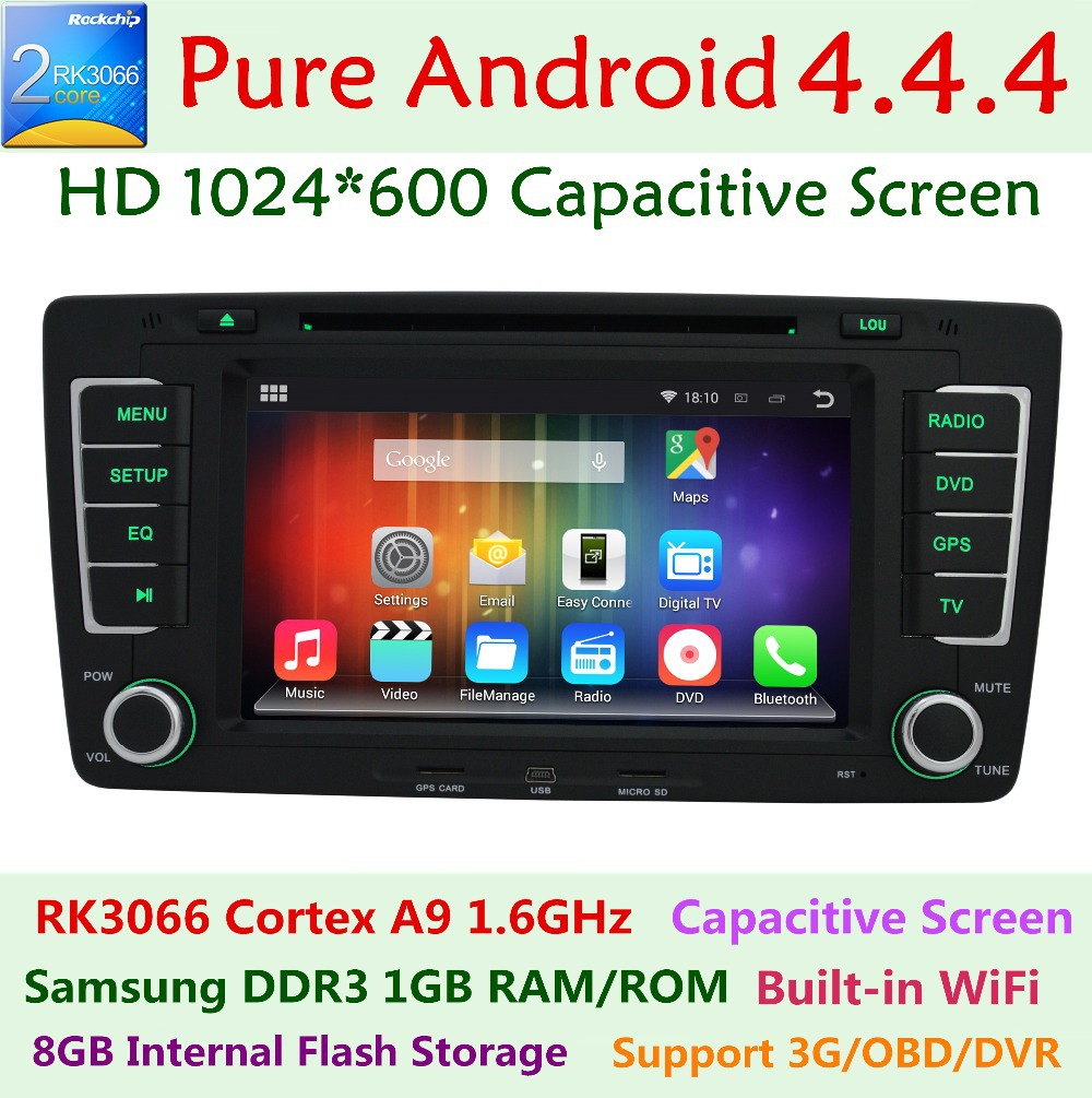 1024*600 Android 4.4 Car DVD Player for Skoda Octavia yeti 2012 2013 a5 a 5 Canbus 3G WiFi BT Radio GPS Navigation Russian menu(China (Mainland))