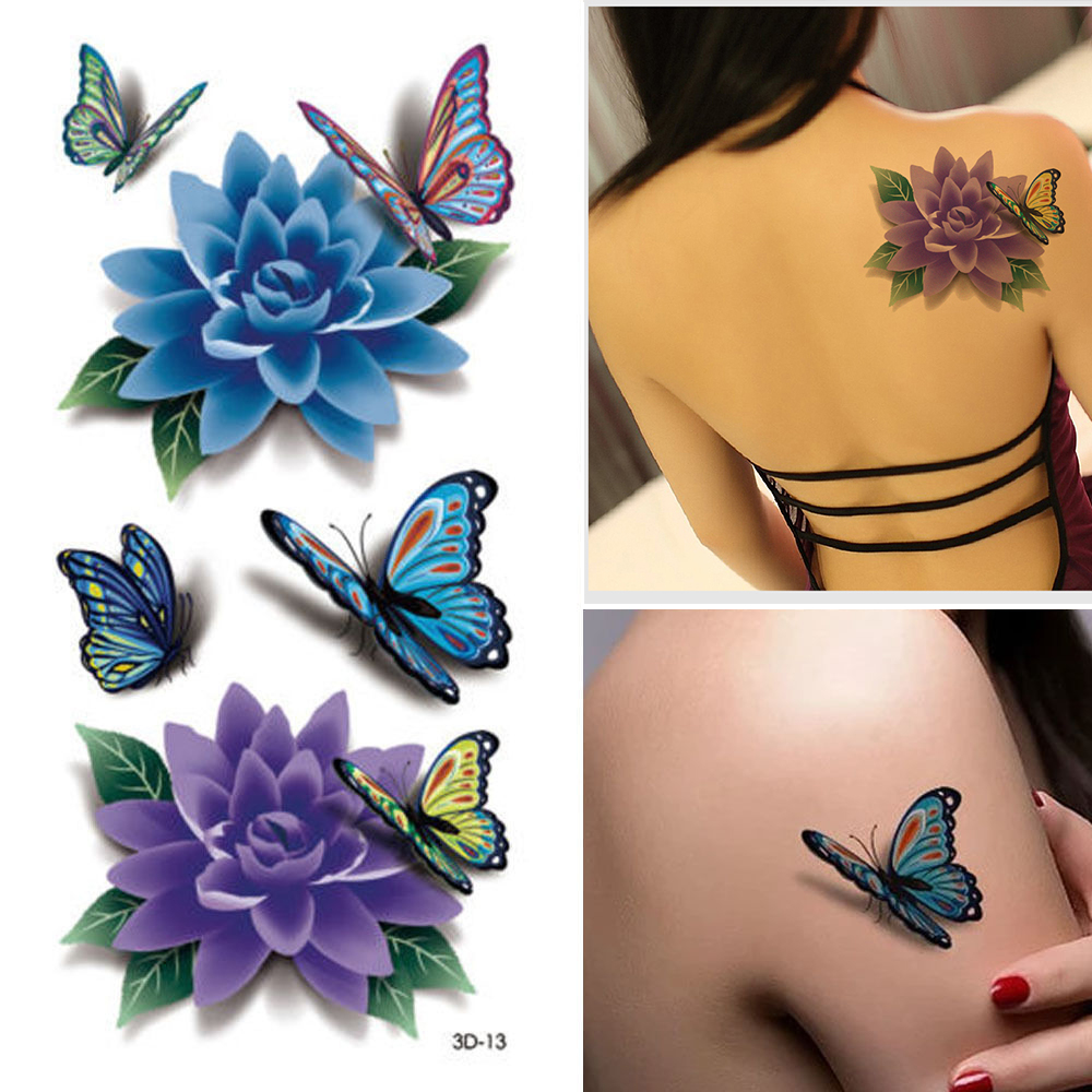 10 Sheet 3D Colorful Waterproof Body Art Sleeve DIY Stickers Glitter Temporary Tattoos Fake Flower Butterfly Rose Body Gift