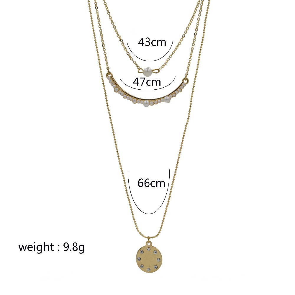 Only 4 U Jewelry 2015 Dainty Tripple Strand Necklace Multi Layers Thin Chain 18K Gold Filled Pear Bar Large Disk Drop #NK0031(China (Mainland))