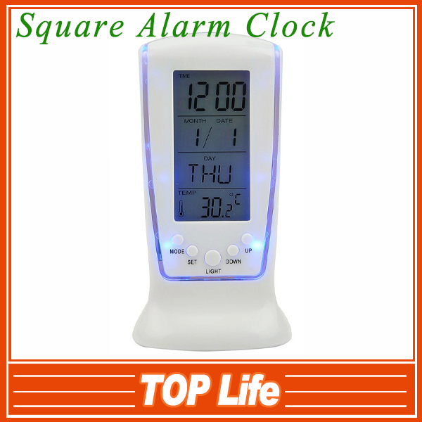 Promotion price Square Alarm Clock with Blue Backlight Music, Digital LED Alarm Clock with retail box Free Shipping(China (Mainland))