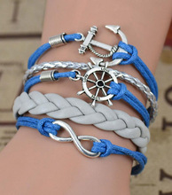 Hand-woven Handmade Infinity anchor Rudder antique silver pendant blue whit silver bracelet Free Shipping!!!