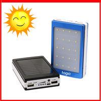 Customized logo Portable Solar Power Bank 30000MAH Dual USB LED External Mobile Phone Battery Charger Backup solar Powerbank