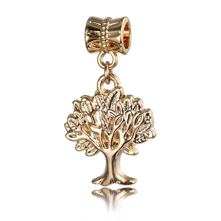 free shipping 1pc real gold plated european life tree pendant haning charm bead fit pandora style bracelet PCG020(China (Mainland))