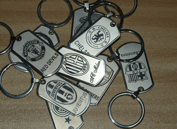 2015 Hot High Quality Famous Football Club Souvenir Key Soccer Stainless Steel Keychain Barcelona Real Madrid Keyring Wholesale(China (Mainland))