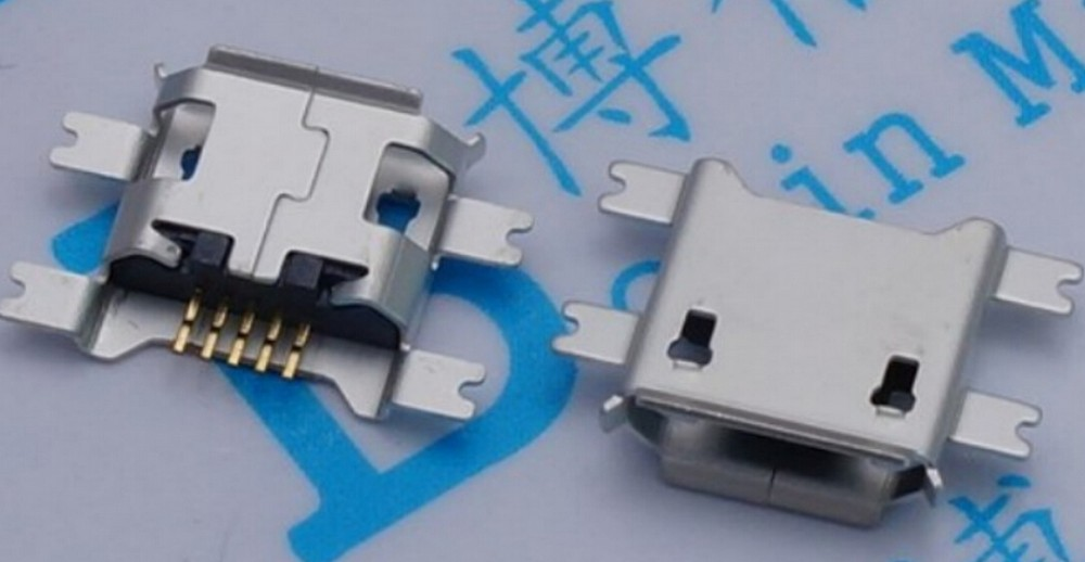 100pcs Micro USB 5PIN female seat 4 Fixed feet 1 17 5P Tablet charging seat Mini
