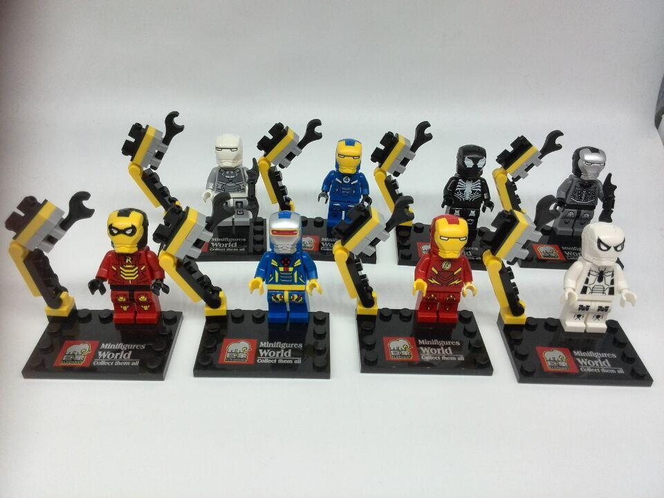 JX1002 10Lot Building Blocks Super Heroes Avengers Minifigures Iron Man Mark 22 42 39 Bricks Mini