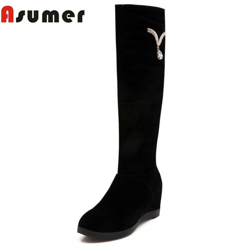 large size 34-43 women knee high boots round toe fur inside winter warm shoes slip on wwedges high heels genuine leather boots<br><br>Aliexpress
