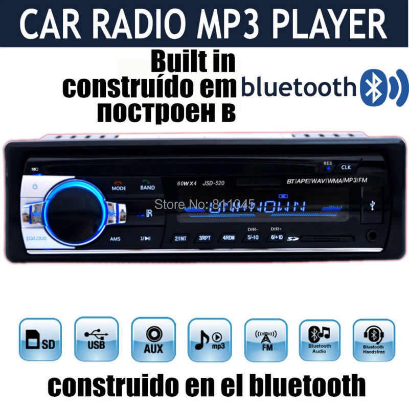new 12V Car Stereo FM car Radio bluetooth MP3 Audio Player Support Bluetooth Phone USB/SD MMC Port Car RADIO In Dash 1 DIN(China (Mainland))