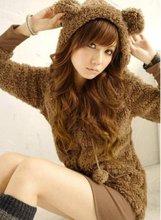 Fashion Womens Korean Cute Bear Bunny Ears Fleece Hoodie Winter Coat Jacket G431(China (Mainland))