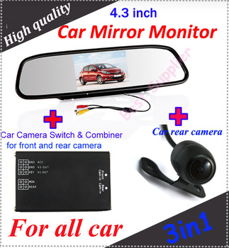 """4.3"""" Car Mirror Monitor and car rear camera and  Mini 2ch real-time Quad system for all car"""