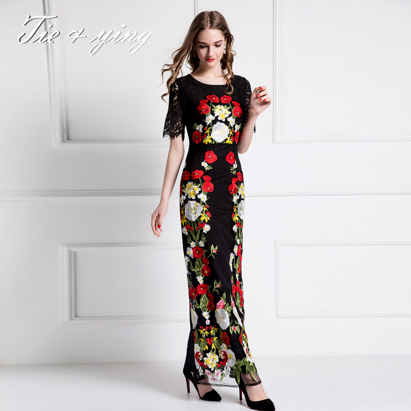 Maxi lace dresses with flowers 2016 summer European fashion runway retro embroidery elegant ball gown long dress puls size XXL(China (Mainland))