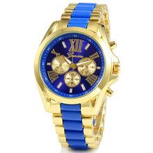 2015 venta caliente nuevo lujo hombres de acero inoxidable clásico oro Dial del análogo de cuarzo brazalete del reloj del envío libre