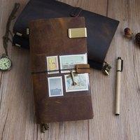 100% Genuine Leather Traveler's Notebook Diary Journal Vintage Handmade Cowhide gift travel notebook BUY 1 Get 5 Accessories