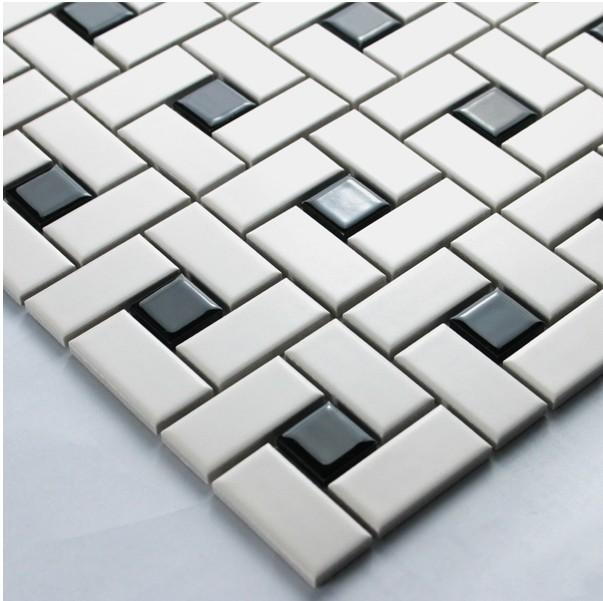White color strip ceramic mixed black color square ceramic for 12x12 porcelain floor tile