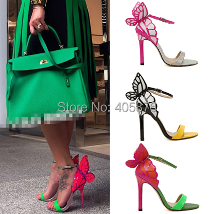 Jan2015 European Women personality wedding high heels Colorful butterfly heeled sandals pumps bow patry shoes woman bridal pumps(China (Mainland))