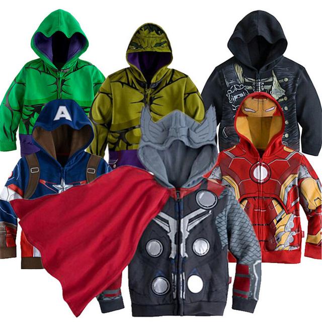 2016 Мальчиков мстители Дети Куртка детская Пальто Супер Герой Капитан Америка верхняя одежда и пальто Мальчиков Детской Одежды