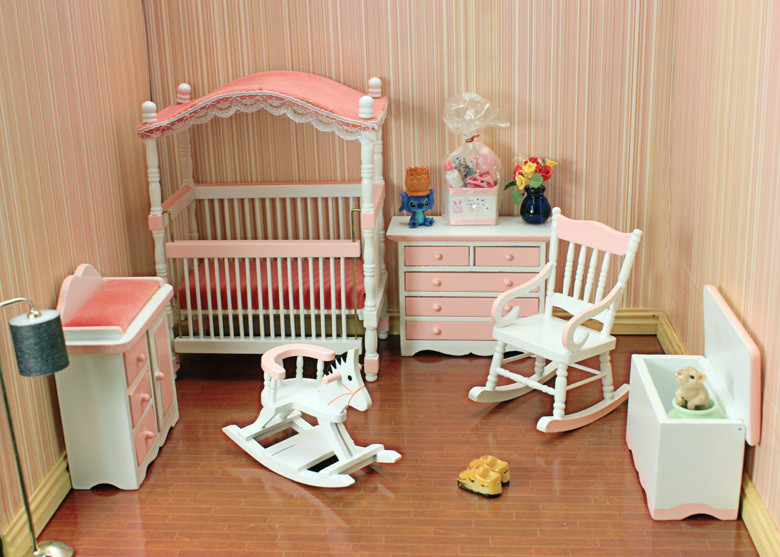 free shipping 1/12 scale new arrivals Puff bed baby room mini wooden miniature doll house furniture(China (Mainland))
