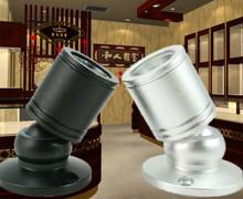 5pcs/lot Jewelry light Mini counter LED spotlight 1W 110v 220v lamp showcase display GUNDAM Cabinet Silver Black aluminum(China (Mainland))
