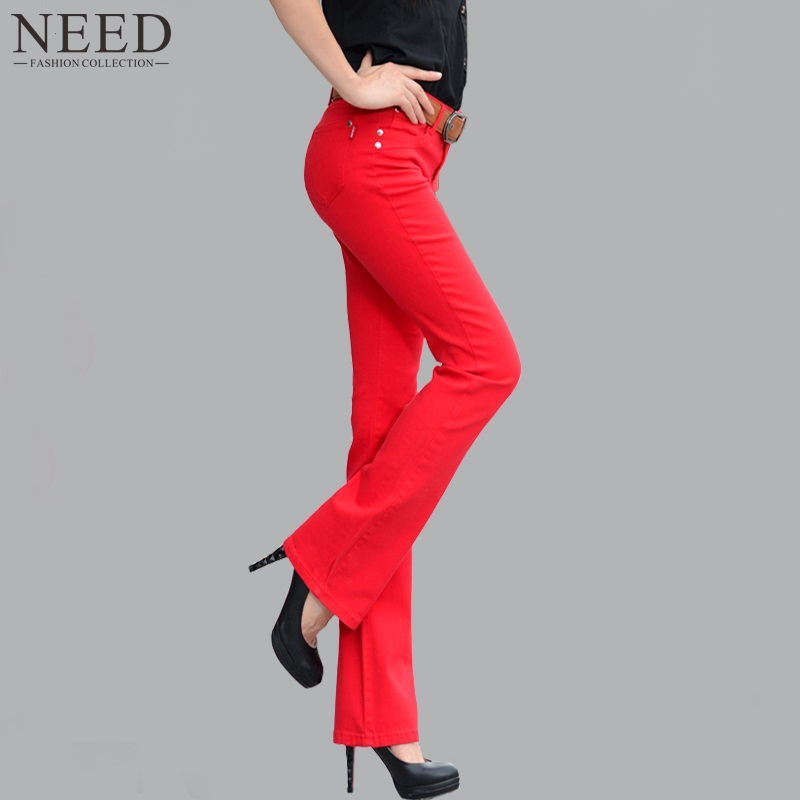 2015 Womens Flare Pants Cotton Skinny Wide Leg Flare Pants Pink Red Black Candy Colors Pants Bell Bottom Trousers For Women(China (Mainland))