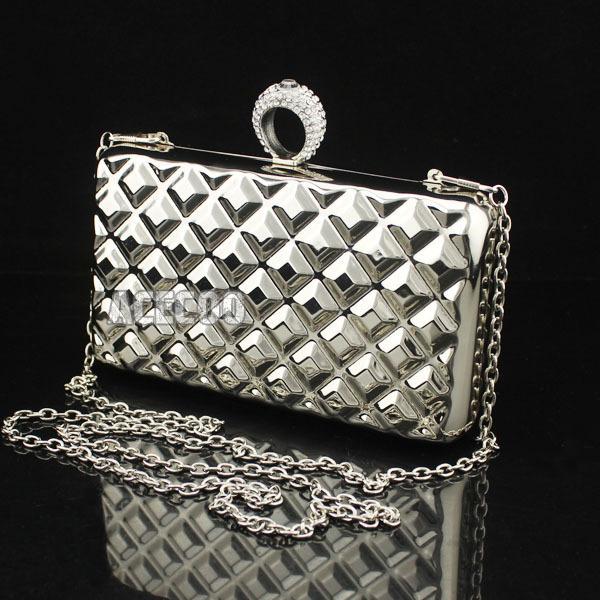 Womens Metal FASHION Clutch Crystals Ring Bag Purse Hard Box Handbag - Acecoo Trading Co., Ltd. store