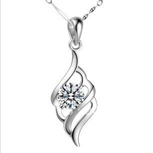 Retail 925 Sterling Silver Necklace Pendant For Ladies Zircon Pendants Can be Customized