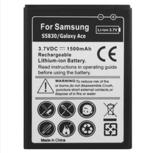 DHL free shipping 1500mAh Mobile Phone Battery for Samsung Galaxy Ace / S5830 / S5660 / S5670  50pcs/lot