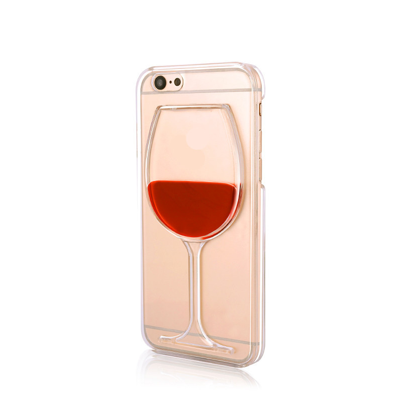 New Fashion Liquid Quicksand Red Wine Glass Beer Glass Clear Transparent Phone Case Hard Back Cover For Apple Iphone 6 4.7(China (Mainland))