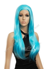 Imstyle Fashion Bright Blue Wigs Cheap Long 24inch 180% Density Blue Color Cosplay Drag Heat Resistant Synthetic Lace Front Wigs
