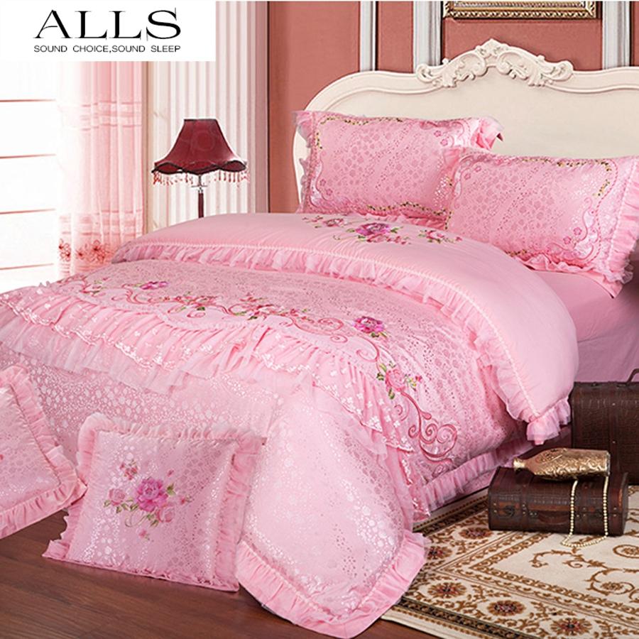 Wedding bed sheet set - Silk Cotton 4pcs 6pcs Home Textile Wedding Bedsheet Bedding Set Western Lace Duvet Cover Bedspread