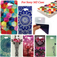 For Sony Xperia M2 Fashion Print Soft TPU Cell Phone Case Cover For Sony Xperia M2 dual D2302 D2303 S50h Phone Cases & Covers