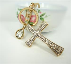Christian Cross Holy Fashion KeyRing Rhinestone Crystal Purse Bag Pendant Charm KeyChain Nice Christian's Gift Souvenir KC017(China (Mainland))