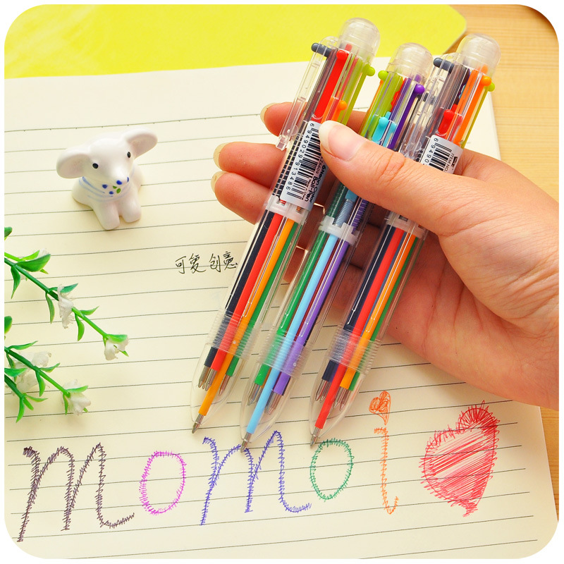 Korean Stationery  Creative  6 colors Fun Ink Retractable Ballpoint Pen  for Kids Gift escolar stationery Office school supplies<br><br>Aliexpress