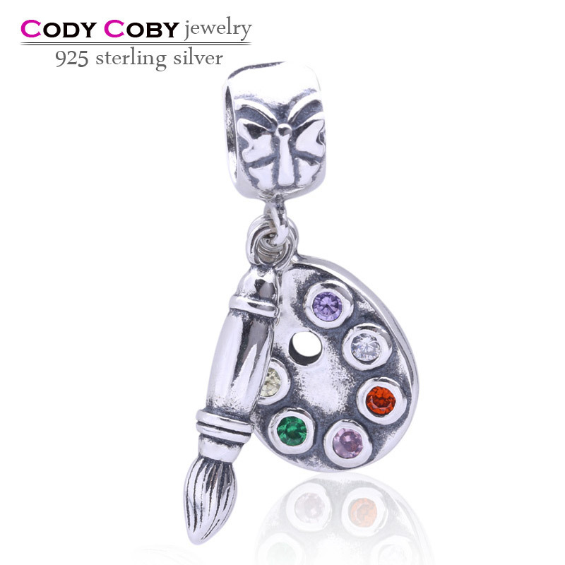 Artists palette silver dangle with 6 colors of cubic zirconia floating charms pendant beads Fits Pandora Bracelets DIY jewelry<br><br>Aliexpress